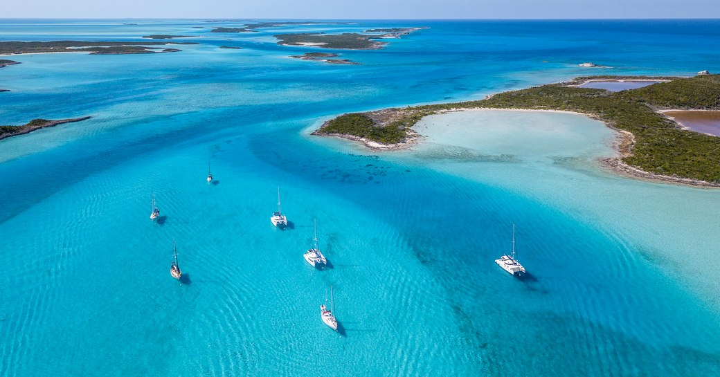 Clear seas and and bays of the Exumas, Bahamas