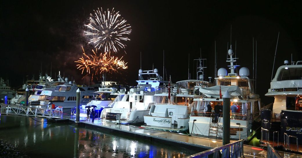 Fireworks light up the night sky over the harbour at the Australian Superyacht Rendezvous