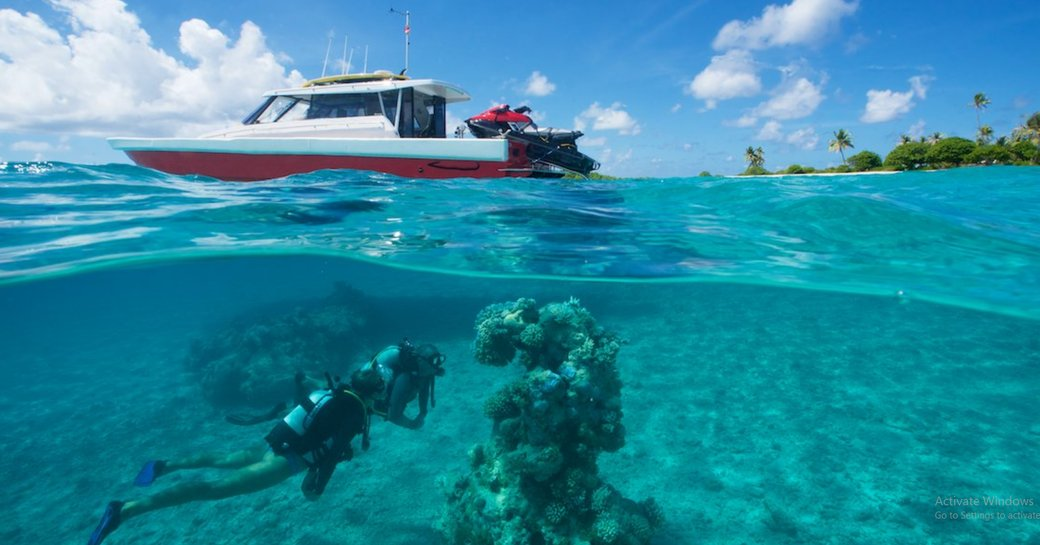 charter guest jets on on tender to explore underwater world of Thailand