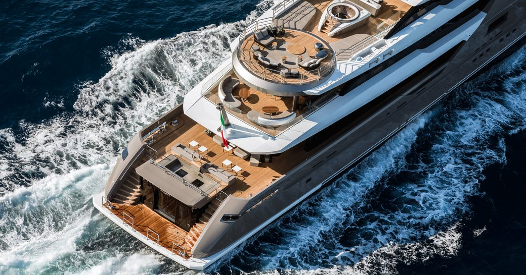 the aft sections of the decks aboard luxury yacht SOLO as she cruises on a Mediterranean yacht charter