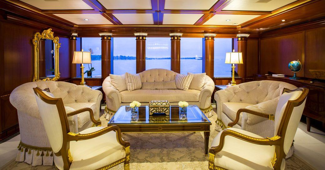 opulent lounge in the main salon of motor yacht My Seanna