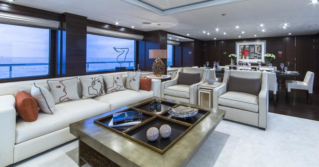 sociable seating area in main salon of charter yacht 4YOU