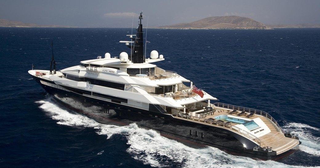 superyacht Alfa Nero cruising on a Caribbean yacht charter