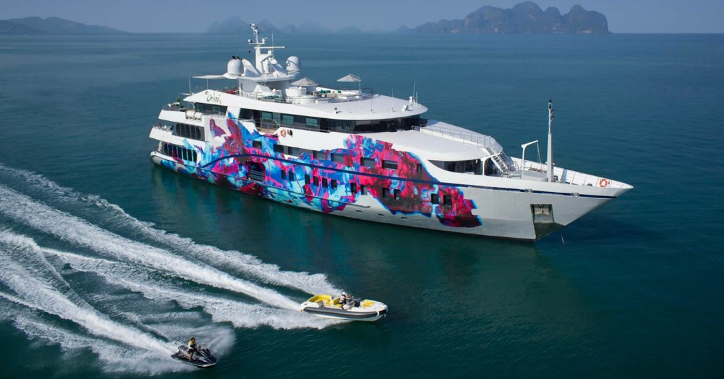 superyacht SALUZI alongside tender and jet ski on a luxury yacht charter in Thailand