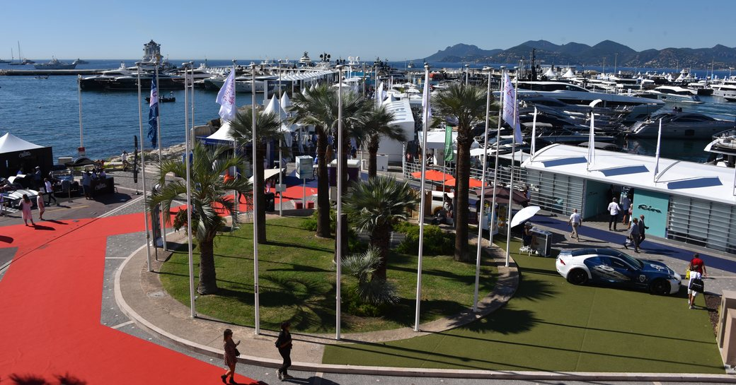 Aerial image of superyachts during cannes yachting festival 2019
