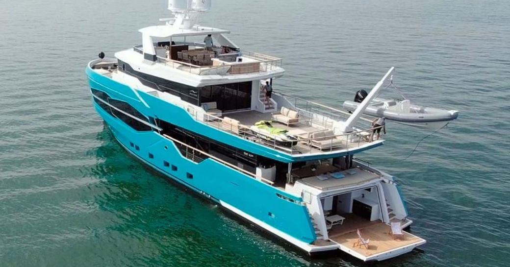 Aft view of explorer yacht 'Seven Diamonds'
