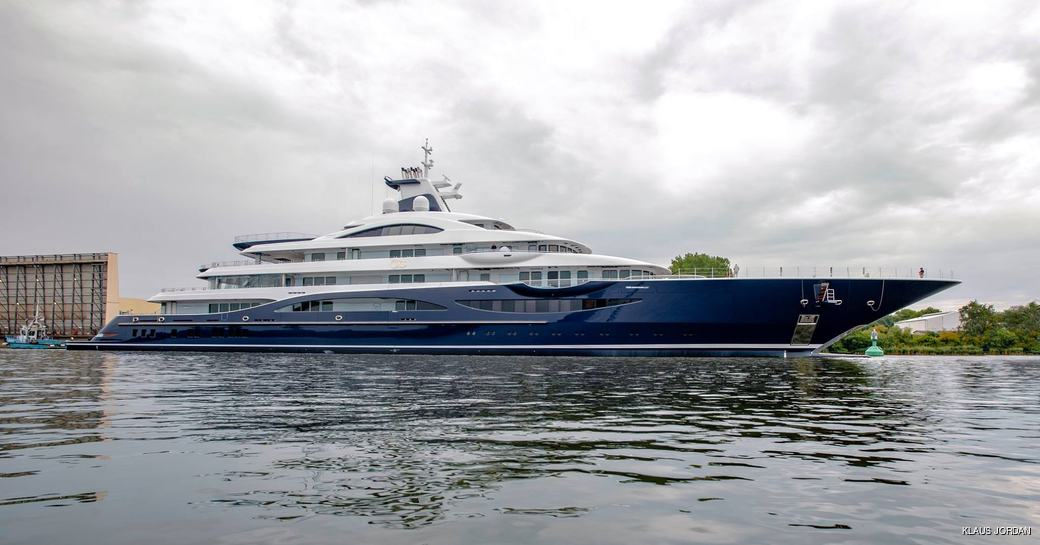 motor yacht TIS after launch from Lurssen's facilities