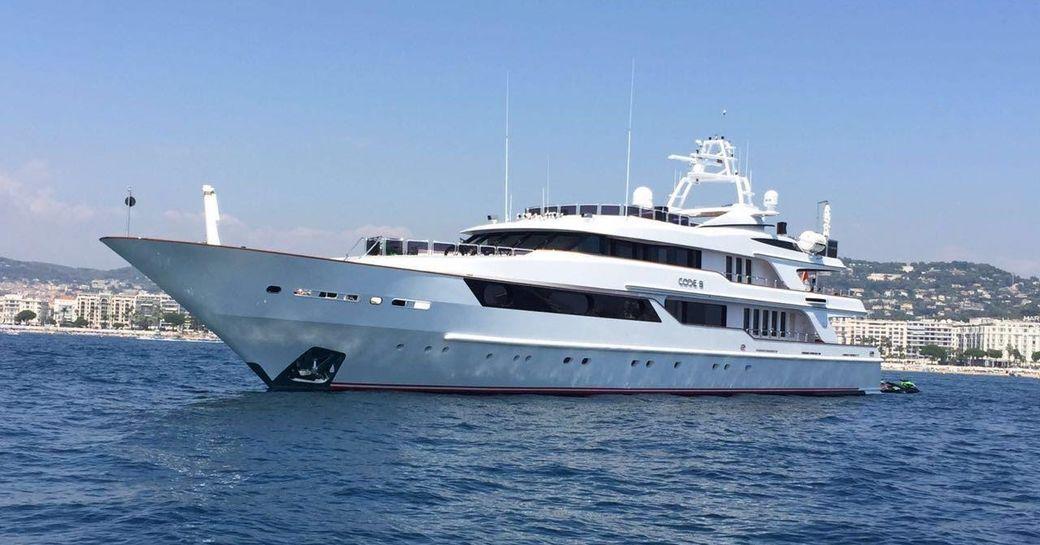 Benetti motor yacht Code 8 anchors on a luxury yacht charter