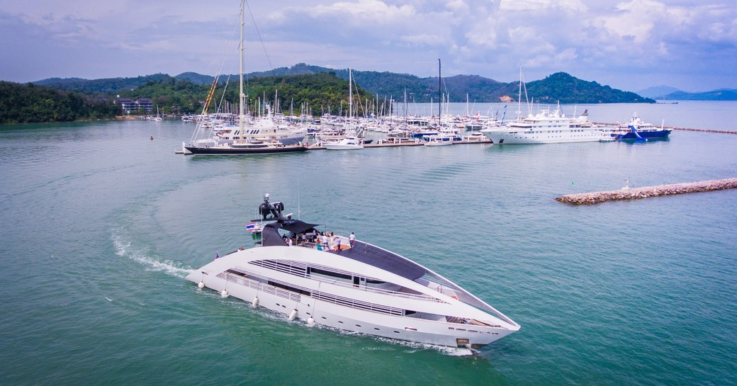 motor yacht Ocean Emerald departs for a cruise at the Thailand Yacht Show