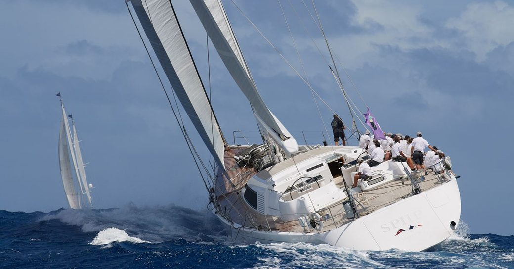 sailing yacht SPIIP in action at the St Barths Bucket Regatta