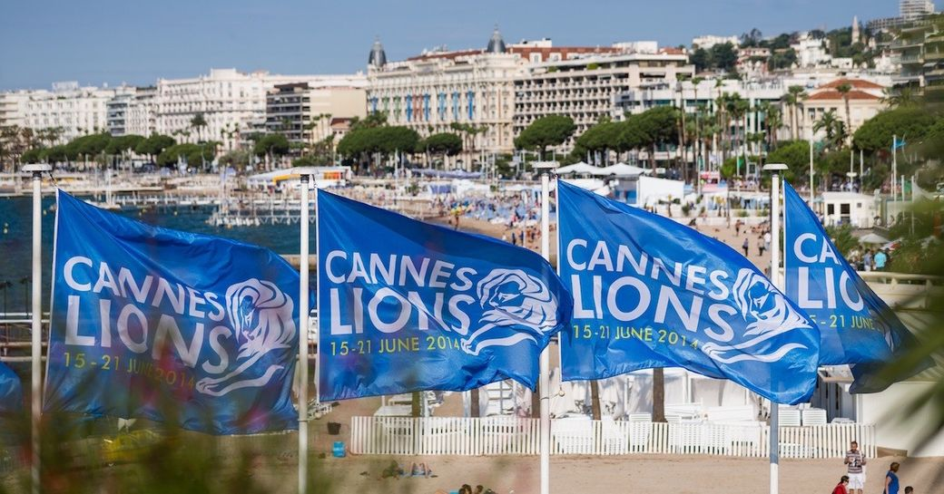 Cannes Lions flags blowing in the wind in Cannes