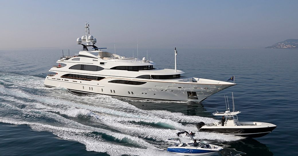 luxury yacht JAGUAR cruises in the Caribbean with tenders on a private yacht charter