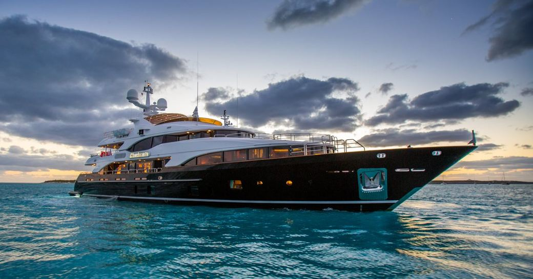 superyacht CHECKMATE anchors on a private yacht charter in the Caribbean