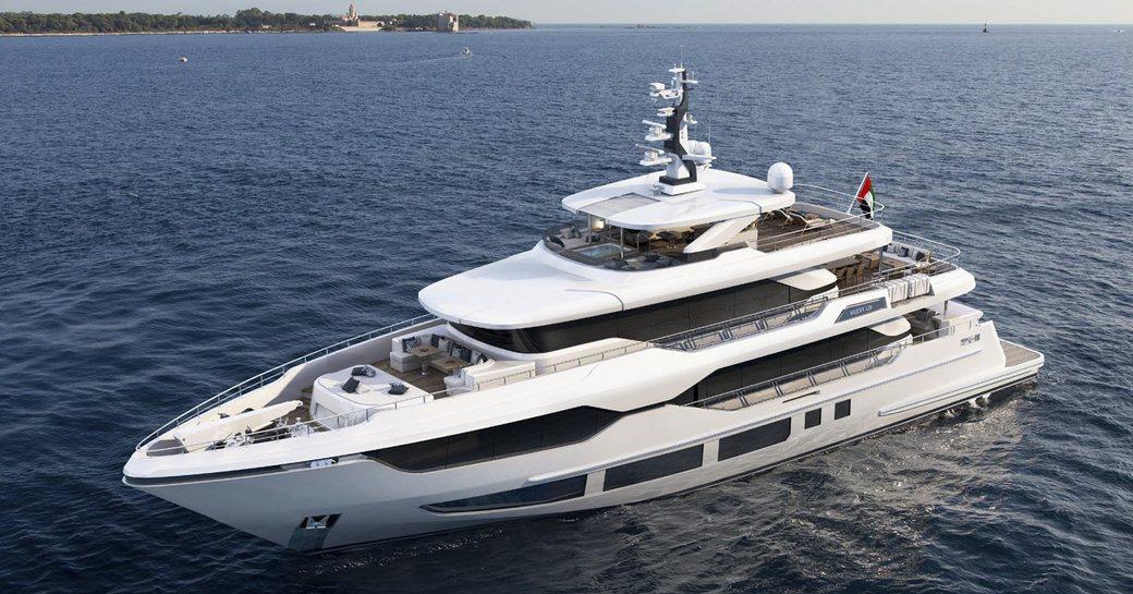 Gulf Craft Majesty 120 superyacht on water