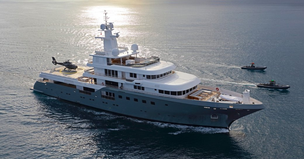 expedition yacht 'Planet Nine' underway on a Mediterranean yacht charter
