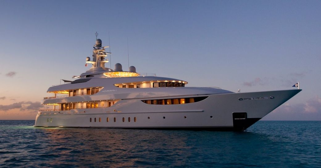 superyacht OASIS anchors in the Mediterranean as the sunsets
