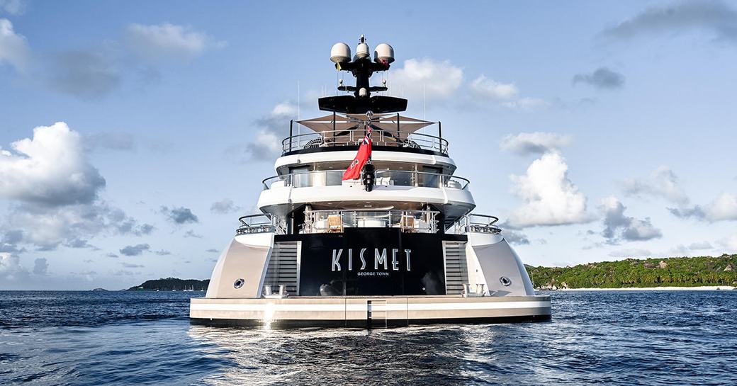 the aft of motor yacht KISMET anchored during a private yacht charter