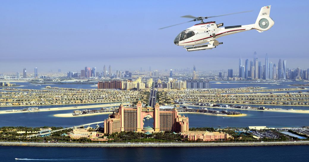 Abu Dhabi helicopter flying above