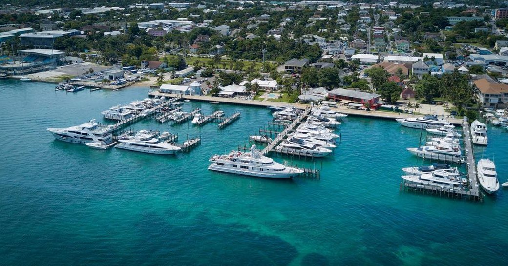 Aerial view of marina that plays host to Bahamas charter show