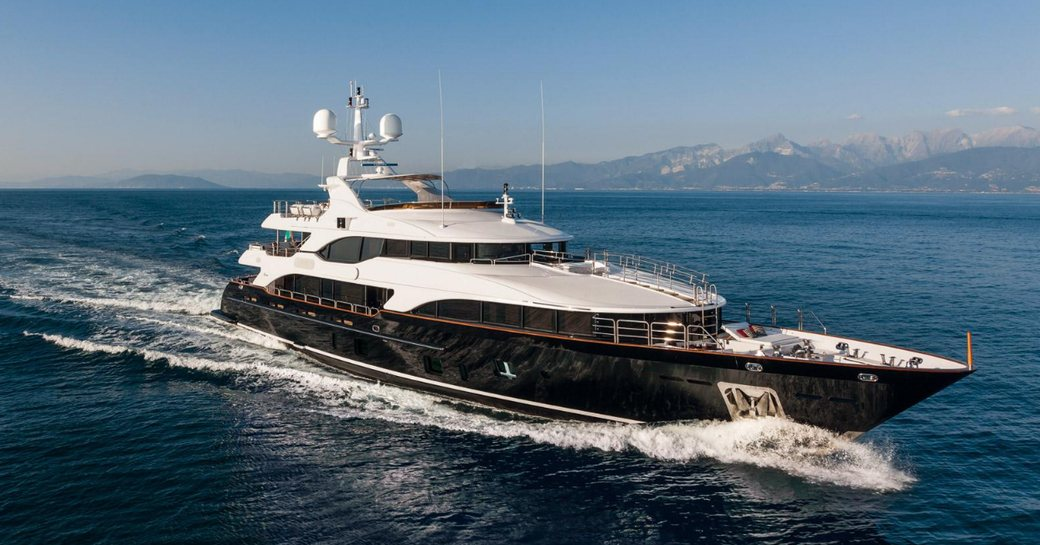 superyacht CHECKMATE cruising on a luxury yacht charter