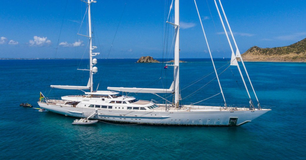 sailing yacht Spirit of the C's anchors during a charter vacation