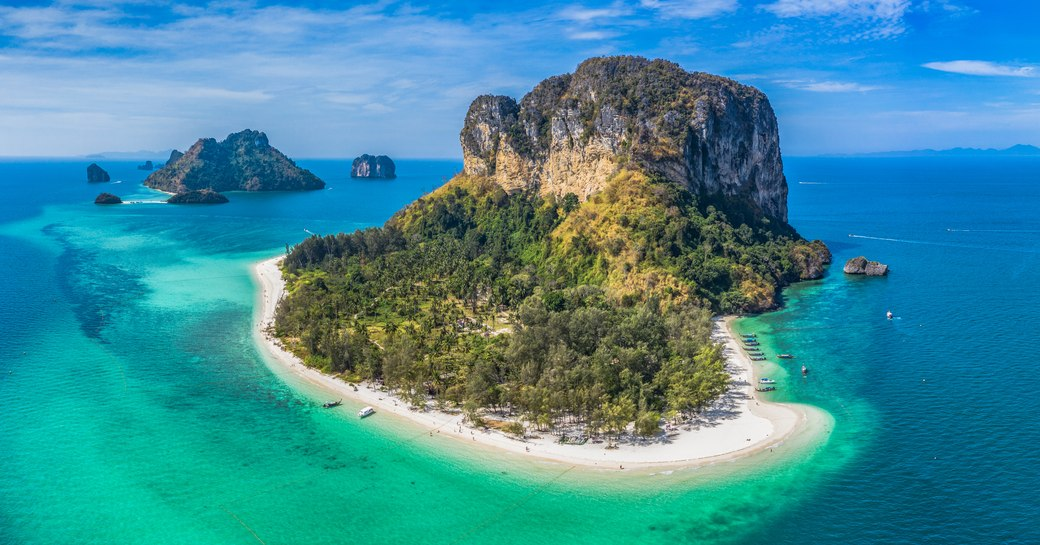 Aerial image of Koh Poda islands in Phuket, Thailand