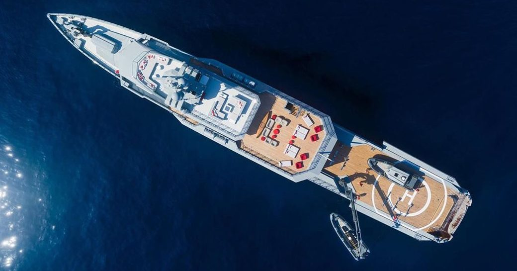 aerial shot of superyacht BOLD by silveryachts as she cruises the waters of the Bahamas