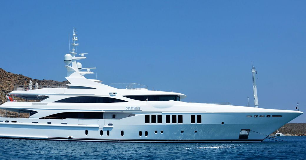 superyacht O'Mathilde anchors on a luxury yacht charter in Greece