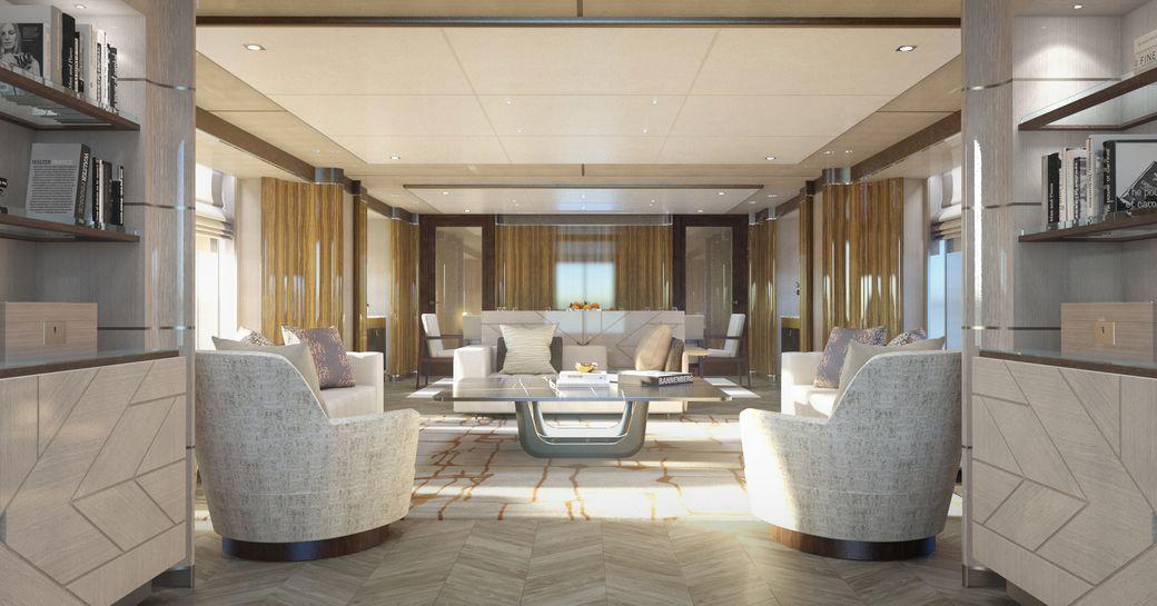 Light filled interiors of superyacht MOSKITO