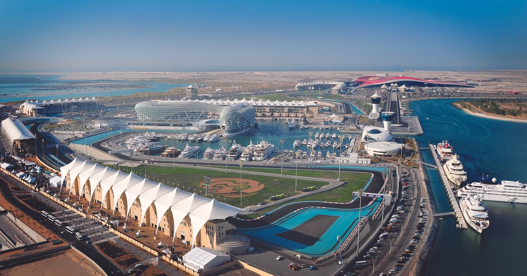 superyachts line up in Yas Marina in Abu Dhabi for the Abu Dhabi Grand Prix 2017