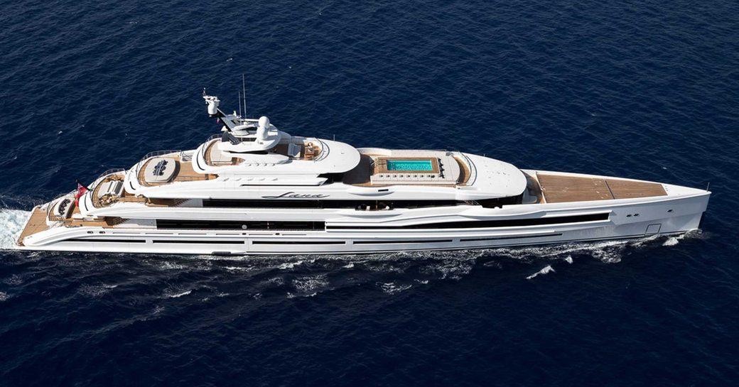 luxury yacht LANA by Benetti cruising underway
