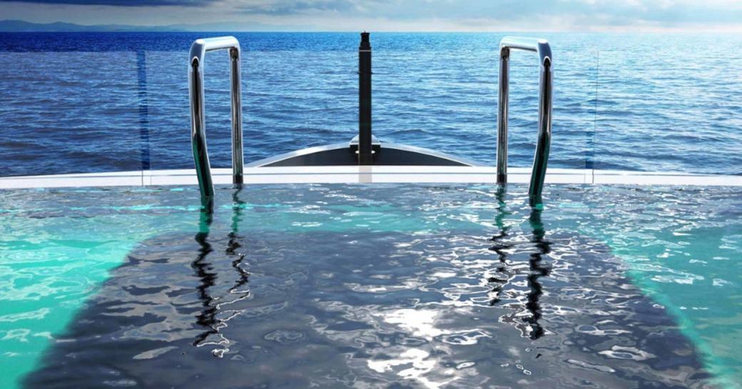 infinity pool on aft deck of luxury yacht SOLO
