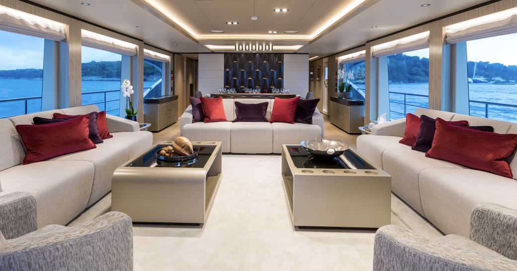 sophisticated main salon aboard charter yacht ONEWORLD