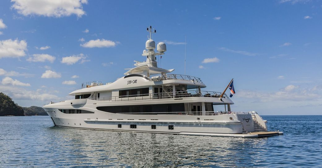 superyacht 'Step One' anchors in the Mediterranean when on a luxury yacht charter