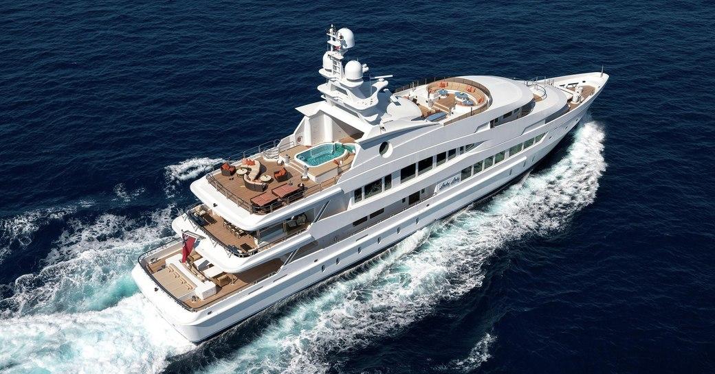 superyacht Lucky Lady cruising on a Caribbean yacht charter