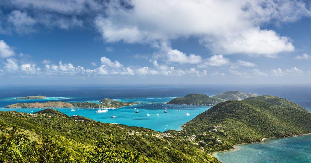 aerial view of Virgin Gorda in the British Virgin Islands