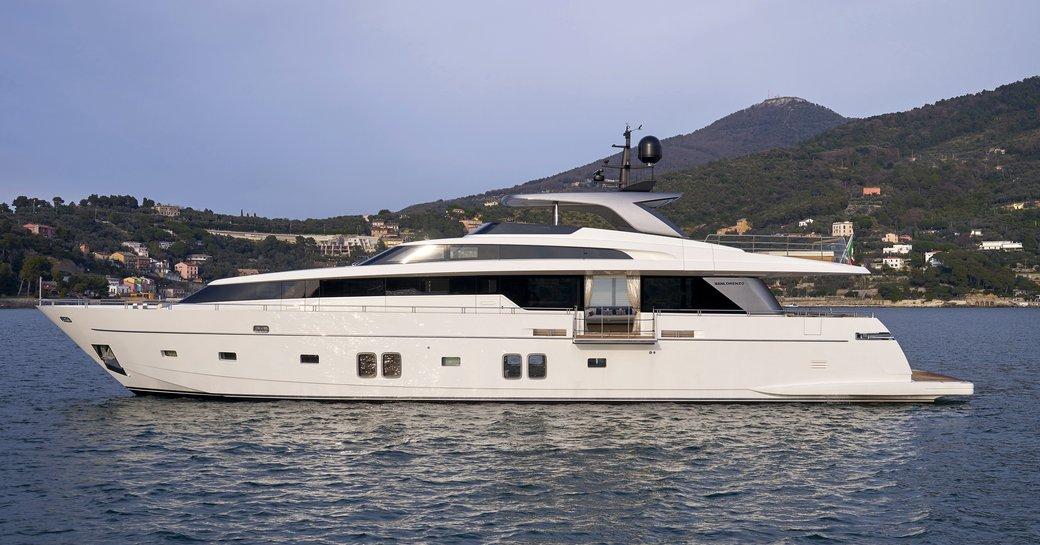 superyacht Dinaia anchors on a Greece yacht charter