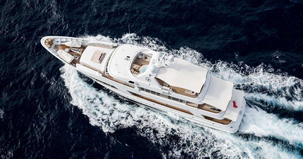 Feadship charter yacht GO underway on a Mediterranean yacht charter