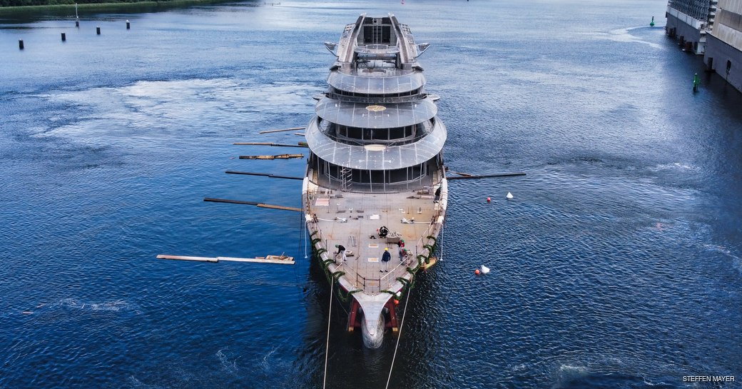 Project Jag: latest photos of 122m Lurssen mega yacht as she hits the water for her technical launch photo 1