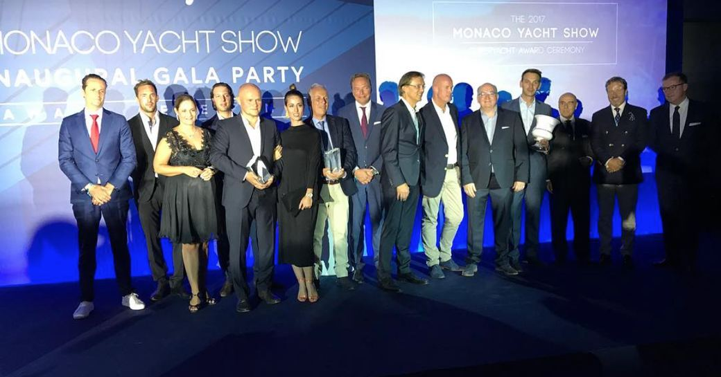 Oceanco team on stage at the MYS awards 2017 picking up the prize for superyacht JUBILEE