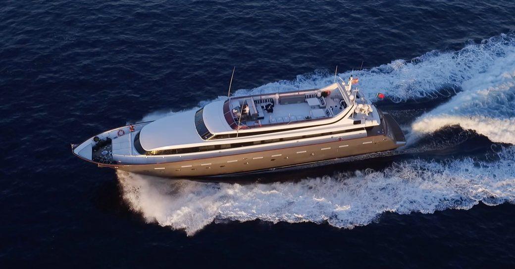 Running shot of luxury yacht 'Ocean Glass'