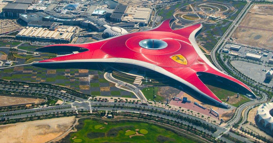 red roofed building that houses Ferrari World Abu Dhabi