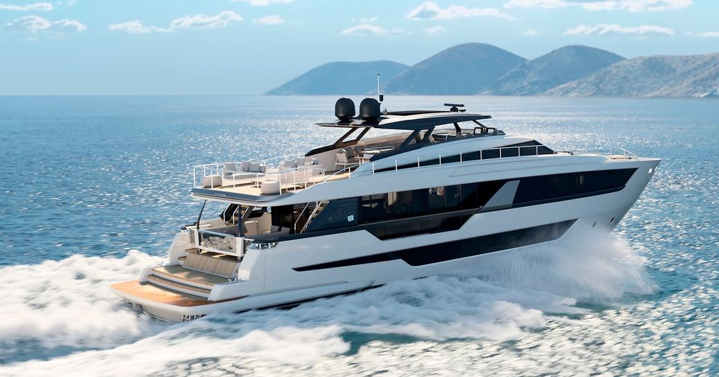 Ferretti superyacht EPIC moving at speed on water