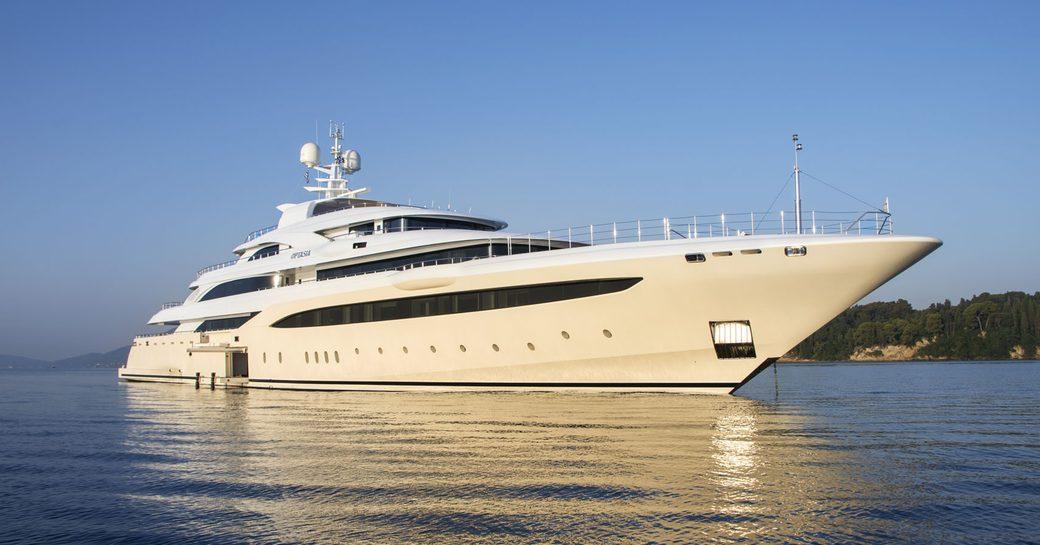 superyacht O'Ptasia anchors on a Greece yacht charter