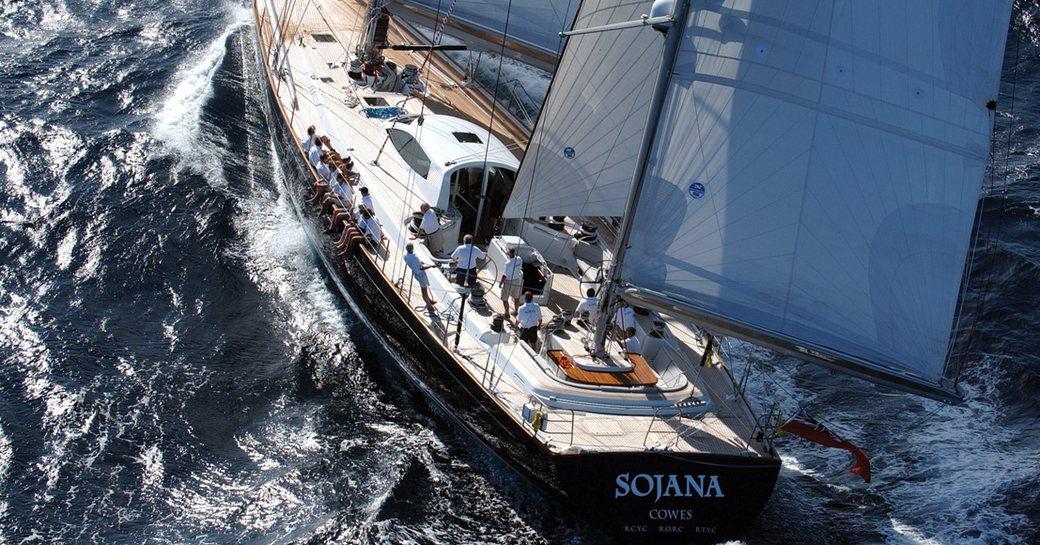 sailing yacht SOJANA cuts through the water