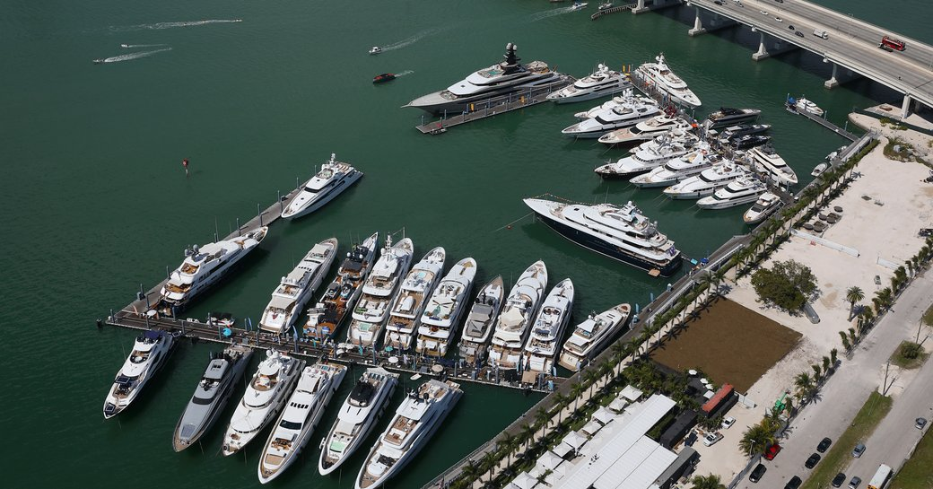 superyacht miami and miami yacht show, aerial view of yachts at island gardens