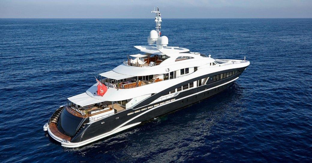 superyacht ROCKET at anchor on a Mediterranean yacht charter