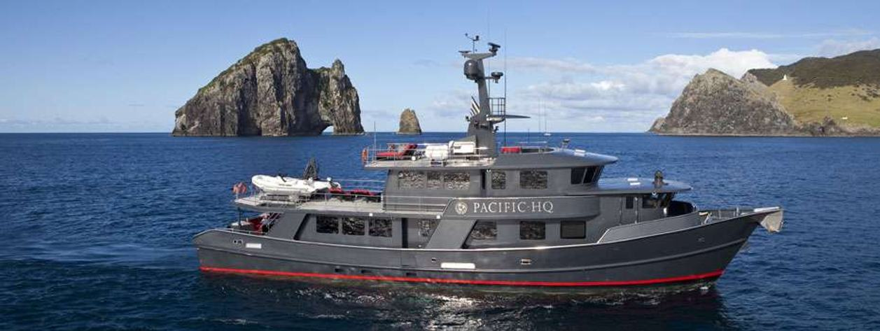 Expedition charter yacht 'PACIFIC HQ' at anchor in the South Pacific