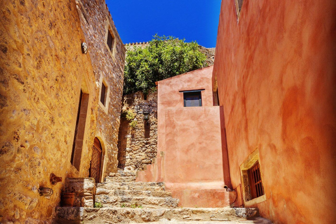 The islet of the Vlacherna Monastery off the coast of Kanoni, Corfu, Greece