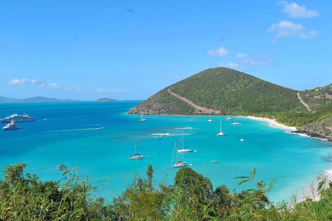 Superyachts lined-up in the port of St. Thomas